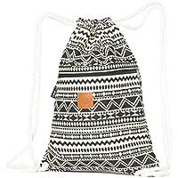 ♡ T-BAGS Thailand Baumwoll Turnbeutel Hipster - mit Reißverschluss - 24 Designs – Hochwertiger Beutel Rucksack Gym-Bag mit verstellbaren Kordeln
