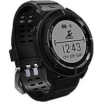 samLIKE 丨 UW80 Smart Watch 丨 100% wasserdicht IP68 丨 Präzise GPS 丨 Outdoor-Fitness-Aktivität 丨 Herzfrequenz-Tracker 丨 Lange Akkulaufzeit 丨 für iOS 8.0 ✚ Andorid 4.4 und später 丨 Das Bestes Geschenk für Freund (⭐️ Schwarz)