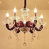 Die Schlafzimmer Beleuchtung Kronleuchter Kronleuchter Kristall lila Lounge Kerze Bekleidungsgeschäft original Restaurant-of-the-art E14 Deckenleuchte, keine Lampe decken