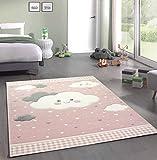 Merinos Kinderteppich Spielteppich mit Wolken in Rosa Größe 80x150 cm