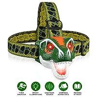 Headlamp LED Headlight T-Rex Head Torch Dinosaur Toys LED Headlamp Flashlight for Kids Realistic Dino Roar Sounds 3 Modes Helmet Light for Reading Running Camping Hiking Fishing