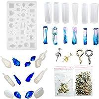 Woohome 13 Forma Molde Silicona Resina,10 pz Stud Earrings, 100 pz de Tornillo Pins la Epoxy Resina Moldes para Collar Pendiente Fabricación de Colgante Creativo Bricolaje DIY