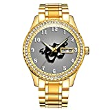 Diamantvergoldete Uhr Luminous Luxury Waterproof Einzigartige Gold-Armbanduhr 086.Comedy und Tragedy Theater Masken