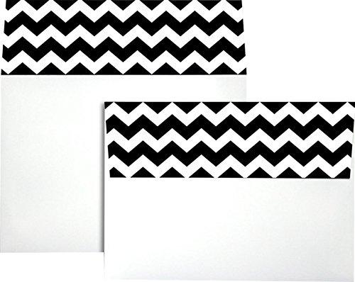 A7colorflaps Briefumschläge W/Abziehen und drücken (51/4x 71/4)–Schwarz Chevron (50Stück) | ideal für Einladungen, Ankündigungen, VERSAND Karten, 5x 7Fotos | cf4880-bchv-50