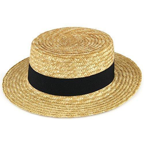Straw boater hat sailor skimmer black band Hawkins summer sun - 57 0f982567b5e2
