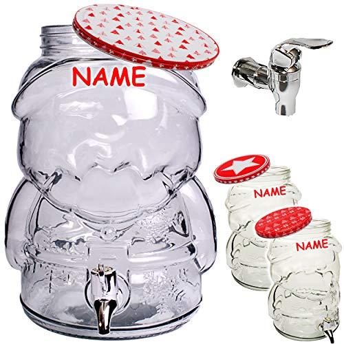 Unbekannt 2 Stück _ XL Getränkespender - Weihnachtsmann / Weihnachten - inkl. Name - 4 Liter - Glas - Getränkefass / Fass - mit Zapfhahn & Deckel / Glühwein Winter Weih..