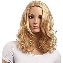 Pelucas onduladas de longitud media para el hombro, ambas para mujeres blancas y negras Peluca