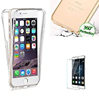 For Huawei P8 Lite Case [360 Degree Protective] Transparent Fit Unique Slim Strong All Round Protection Front and Back Full Body Two Piece Soft TPU Silicone Gel Case Cover for Huawei P8 Lite- Transparent