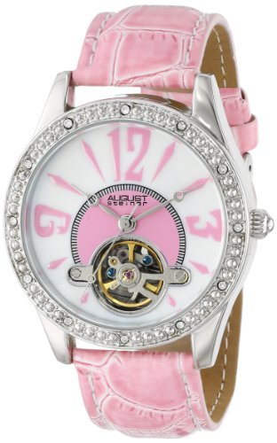 August Steiner Femme AS8034PK Cristaux Squelette Montre Bracelet