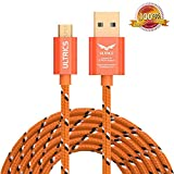ULTRICS Câble Micro USB 3M, Nylon Tressé Cable Charge Sync Chargeur USB Android Plomb Compatible avec Samsung Galaxy A10 S7 S6 Edge, LG, Nokia, Oppo, Microsoft Tablette Smartphones et Plus - Orange