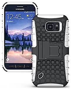 Heartly Flip Kick Stand Spider Hard Dual Rugged Armor Hybrid Bumper Back Case Cover For Samsung Galaxy S6 active SM-G890 - Best White
