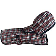 DANCE YOU PRIMA Pet Dog Raincoat Rain Jacket with hood and harness hole with magic sticker for small and medium dogs Tartan L