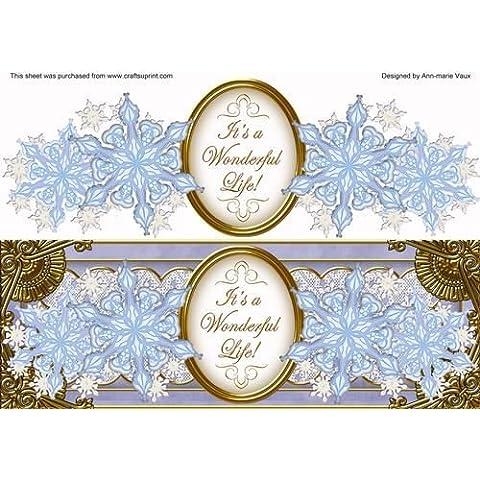 Blu Fiocco di neve vita Large DL Decoupage Topper by Ann-Marie Vaux