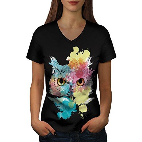 Stilvoll Eule Vogel Tier Schön Auge Frau S V-Ausschnitt T-Shirt | Wellcoda (Graphic Vögel T-shirt)