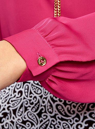 oodji Collection Donna Camicetta in Tessuto Fluido con Decorazione in Metallo Rosa (4701N)