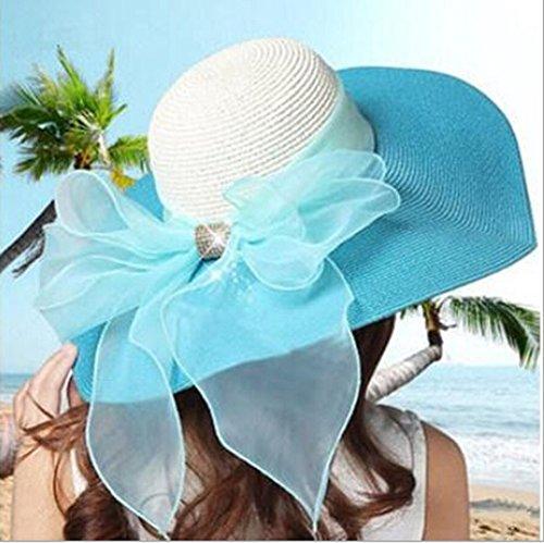 Surker Femmes Mode ¨¦t¨¦ ¨¦l¨¦gant Bownot Plage Chapeau de paille Chapeau de soleil Rose