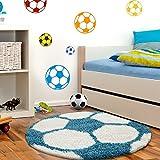 Kinderteppiche mit Fußball für Kinderzimmer, Jugendzimmer, Babyzimmer FUNNY 6001, Farbe:Türkis, Maße:Ø 120 cm Rund