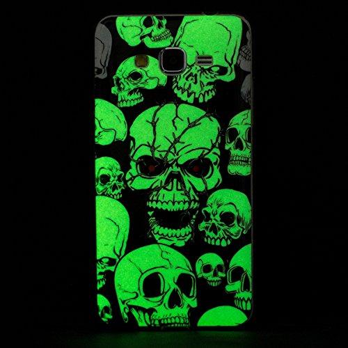 Coque Galaxy J7 2015 Luminous,Transparent Coque pour Samsung Galaxy J7,Ekakashop Ultra Slim-fit Noctilucent avec Motif Campanula Coque de Protection en Soft TPU Silicone Crystal Clair Souple Gel Houss Luminous Fantôme Yeux Rouges