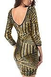 Yidarton Damen Paillettenkleid Langarm Rundhals Backless Partykleid Ballkleid Abend Minikleid (Gold, Medium)