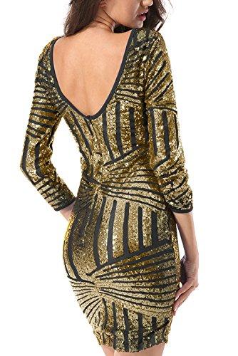 Yidarton Damen Paillettenkleid Langarm Rundhals Backless Partykleid Ballkleid Abend Minikleid (Gold, Small)