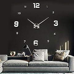 Idea Regalo - UBaymax Orologio da Parete Adesivo,3D Mirror Modern Wall Clock,DIY Large Watch Removibili per Camera/Home Decoration
