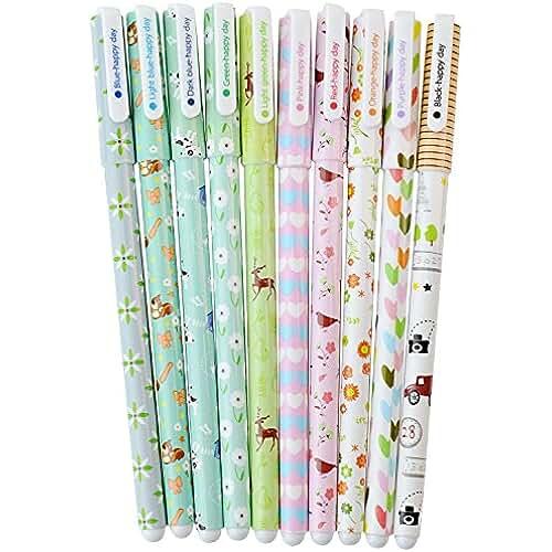 material para la escuela kawaii Hosaire 10 Piezas Bolígrafo de Gel Floral Juego de Bolígrafos Escolares Escritorio de Corea Creativo Kawaii Papelería Estudiante Multicolores