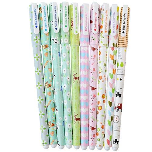 Hosaire 10 Piezas Bolígrafo de Gel Floral Juego de Bolígrafos Escolares Escritorio de Corea Creativo Kawaii Papelería Estudiante Multicolores
