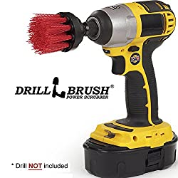 Long Bristle 2 Inch Diameter Red Stiff Bristle Rotary Cleaning Drillbrushes for Cleaning Siding, Brick, Stone, Fireplaces, Decks, Gutters, and More by Drillbrush