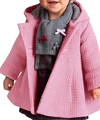 TOOGOO(R)Ropa de bebe Chicas de boga Abrigo de lana de jacquard calido grueso Ropa de chicas Abrigo Rosa 90CM