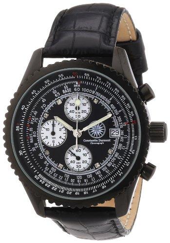constantin-durmont-mens-quartz-watch-navigator-cd-navi-qz-lt-ipip-bkd-with-leather-strap