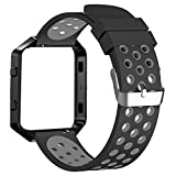 #8: Fitbit Blaze Bands with Frame By House of Quirk port Silicone Soft Band with Ventilation Holes and Black Stainless Steel Frame - Black/Grey