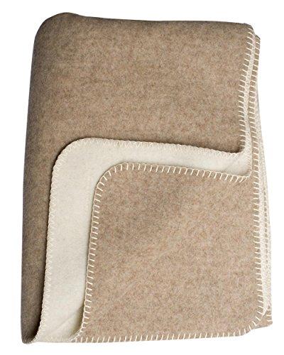 Steinbeck Doubleface-Decke Ökolana aus 100 % naturbelassener Schurwolle, in 4 Größen und 3 Farben, Beige/Weiß Größe 150x200 cm