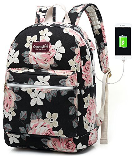 Canvaslove Canvas15.6 inch laptop backpack with USB Charging Port and Massage Cushion Straps for laptop up to 15 inch Men Women Student Outdoor Travel Backpack (White Rose)