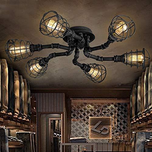 Pipe Pendelleuchte (RUCHUFT 8 Lichter Industrie Cage Pipe Pendelleuchte-Retro Black Iron Vintage ;ngende Pendelleuchte Edison Ceiling Kronleuchter Semi-Flush Fixtures (Six Lights, Black))