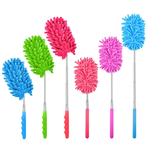 mifengdaer 6 Pack Bendable Microfiber Duster Extendable Dusting Brush Washable Duster, 3 Bendable and 3 Straight