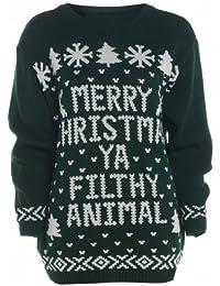 (womens merry christmas ya filthy animal jumper (mtc) Frauen Merry Christmas Ya Filthy Animal Steckbrücke (36/38 (uk 8/10), (dark green) dunkelgrün)