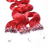hair2heart 25 x Microring Loop Extensions aus Echthaar, 60cm, 1g Strähnen, gewellt - rot