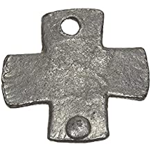 Hierro fundido envejecido plata remaches Plain Cruz Charm Colgante 26mm