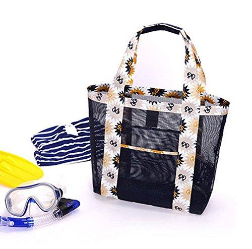 Hosaire Netz Tasche Schwarz Reise Beutel Sand Handtaschen Schulter Hohe kapazität Strand-Tasche Multifunktions Kleidung Eintritt Paket waschen tasche