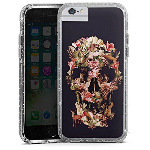 Apple iPhone 6s Bumper Hülle Bumper Case Glitzer Hülle Totenkopf Skull Schädel Bumper Case Glitzer silber