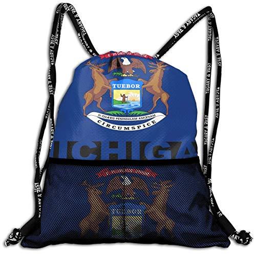 Hipiyoled Michigan State Flag Bulk Drawstring Backpack Cinch Bag Sport Gym Sack for Traveling and Storage