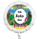 Personalisierter Foto-Ballon Pferde mit eigenem Foto, Namen und Alter, mit Helium befüllbar, in XXL, ohne Heliumfüllung