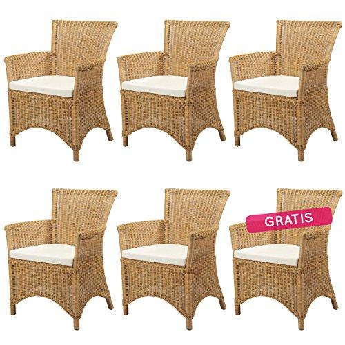 6x Rattansessel ROSAS Gelb - Rattanmöbel Set - Korbsessel mit Kissen
