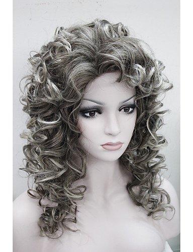 Perruque & xzl Perruques Fashion nouvelle mode charme 50cm brun mix pointe gris perruque synthétique bouclés femmes