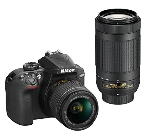 Nikon D3400 Digital Camera Kit (Black) + Lens AF-P DX Nikkor 18-55mm f/3.5-5.6G VR + AF-P DX Nikkor 70-300mm f/4.5-6.3G ED VR + 16 GB Class 10 SD Card + DSLR Bag