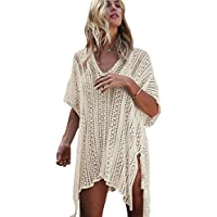 shermie Women Hollow Out Beach Swimsuit Coverups Oversized Short Sleeve V Neck Loose Knit Bikini Cover up