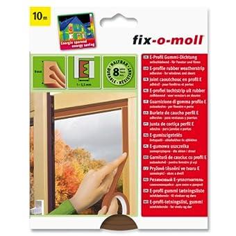 Burlete de caucho perfil E adhesivo para ventanas y puertas (10 m, 4 x 9 mm)