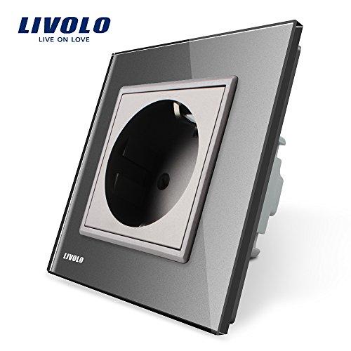 Preisvergleich Produktbild LIVOLO Grau Schuko Schutzkontakt Steckdose mit Kindersicherung Panel aus Kristallglas EU Standard 1 Fach Wandsteckdose, VL-C7C1EU-15-A
