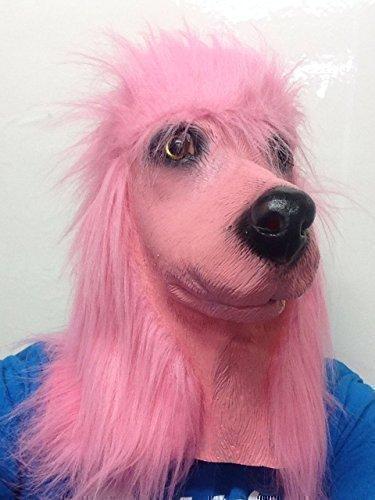 Französisch Rosa Pudel Latex Maske Tiere Hund Maske Kostüm