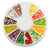 144 pcs Assorted Fimo 3D Fruit Pattern Slices Wheel Fruit Fimo Slices Decals Stickers Jewels Nail Art Gems for Sticking to Slime, Nail Art, DIY Crafts Decoration